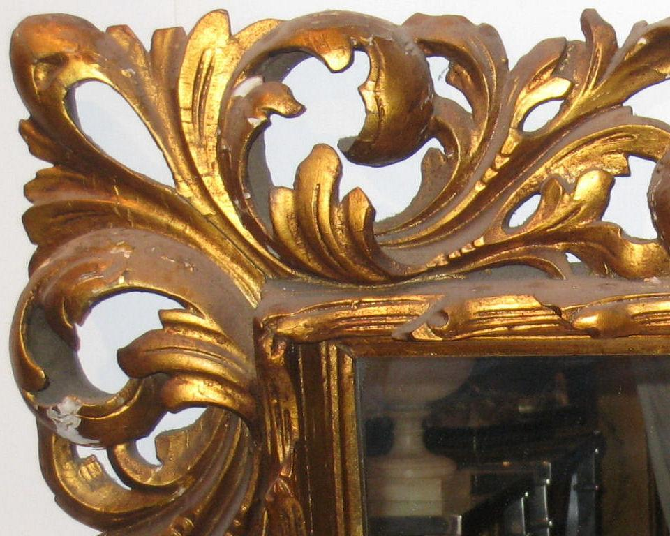 Antique Italian Baroque Style Gilded Wooden Giltwood Mirror