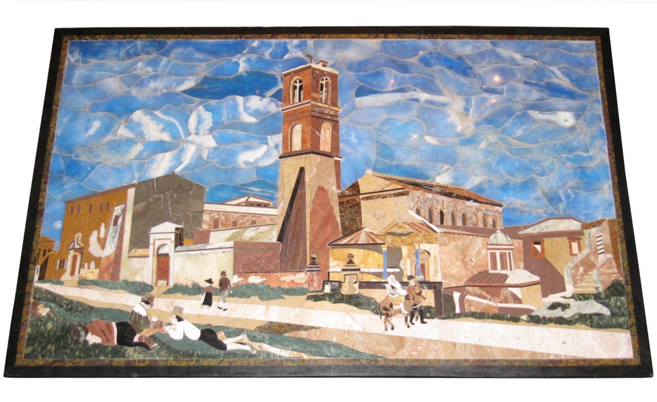 Italian Pietra Dura Mosaic Stone Plaque or Tabletop Depicting Village Landscape