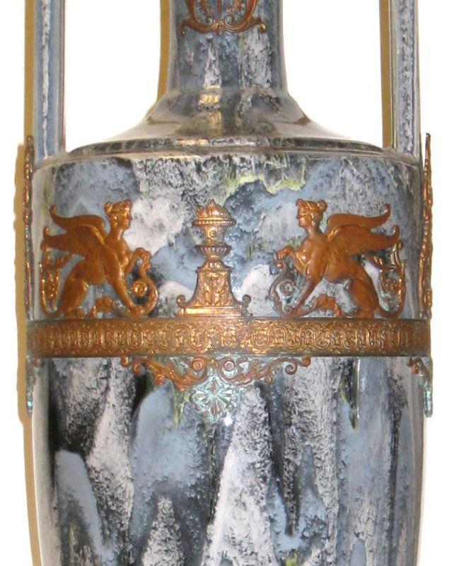 Pair Antique Neoclassical Greek Revival Bronze Mounted Flambe Drip Glazed Ceramic Vases