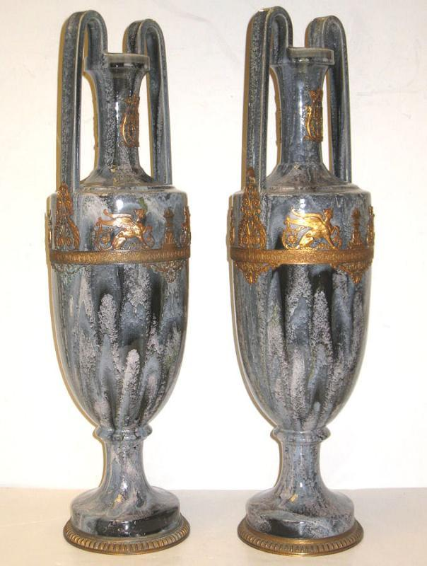 Pair Antique Neoclassical Greek Revival Bronze Mounted Flambe Drip Glazed Ceramic Vases