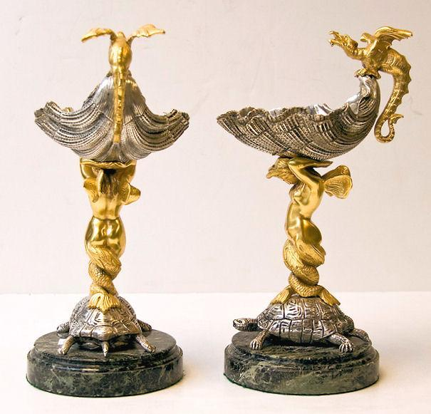 Pair Gilt & Silvered Bronze Shell Form Compotes Tazze Bon Bon Sweatmeat Dishes