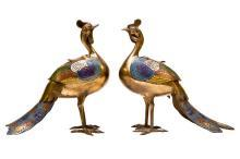 Pair Antique Chinese Champleve Bird Form Censers