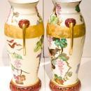Pair Antique Oriental Chinoiserie Paris Porcelain Gilded & Painted Vases