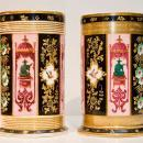 Pair Antique Darte Freres Chinoiserie Chinese Style Paris Porcelain Spill Form Vases