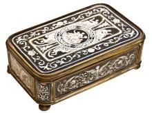 Antique Neoclassical Enamel Dresser Box Jewelry Casket