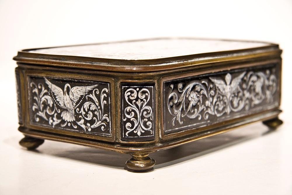 Antique Neoclassical Enamel Dresser Box Jewelry Casket