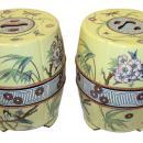 Pair Antique Chinese Famille Jaune Ceramic Garden Seats