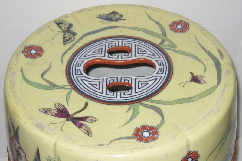 Pair Antique Chinese Famille Jaune Ceramic Garden Seats