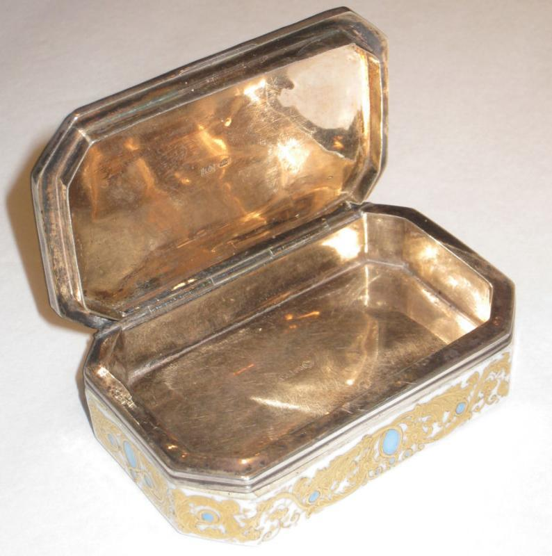Antique Russian Silver Mounted Porcelain Snuff Box