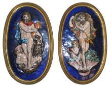 Pair Antique Greek Revival Neoclassical French Limoges Enamel Plaques