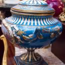 Large Antique Sevres Style Porcelain Tureen Compote Bowl with Lid