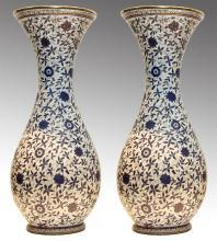 Pair Enameled and Parcel Gilt Pair Shaped Chinese Famile Verte Porcelain Vases