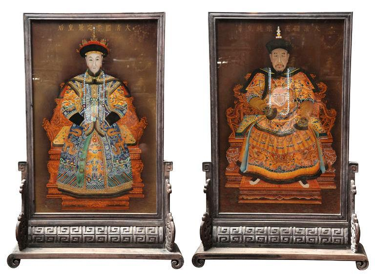 Pair Chinese Eglomise Reverse Painted Royal Emperor Empress Portraits on Glass