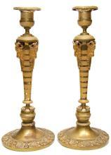 Pair Russian Empire Period Gilt Bronze Candlesticks