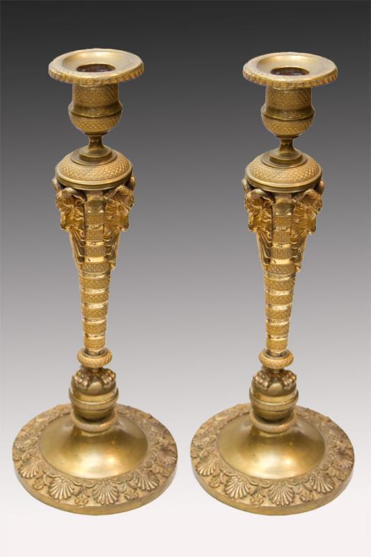 Pair Russian Empire Period Gilt Bronze Candlesticks