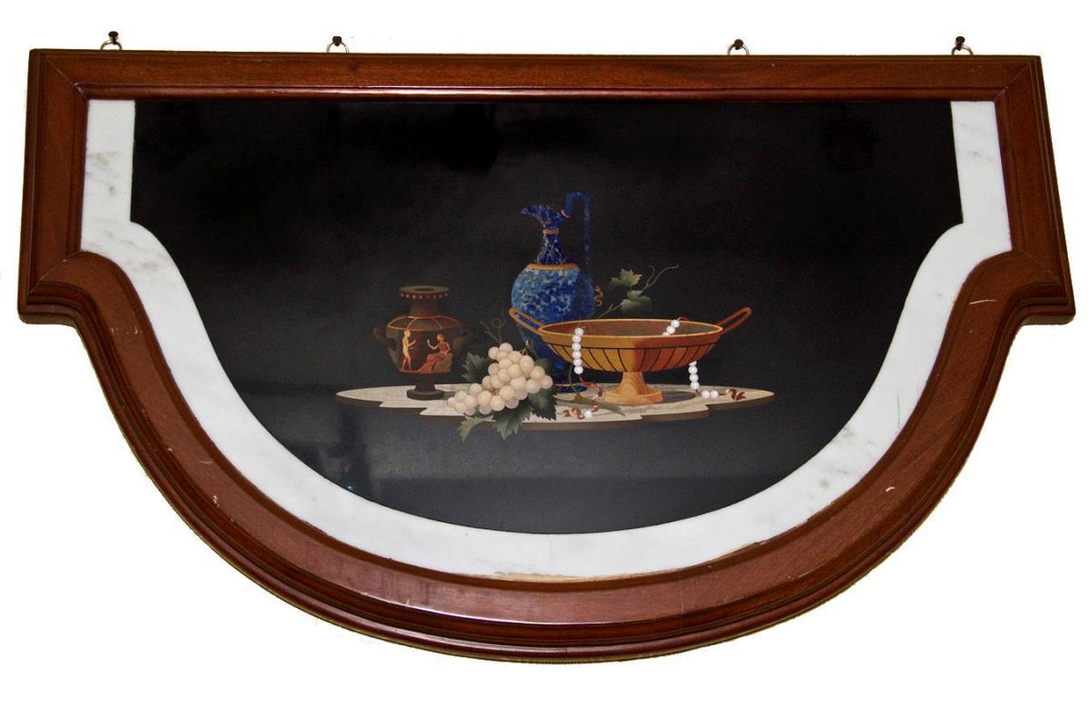 Antique Italian Pietra Dura Inlaid Marble Still LIfe Plaque