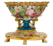 Large Antique Porcelain Gilt Bronze Mounted Floral Jardiniere Centerpiece