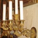Pair French Louis XV Style Gilt Bronze Neoclassical Sconces