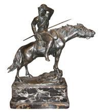 Bronze Figurine Sculpture of Austro-Hungarian Hussar Cavalry Soldier on Horseback