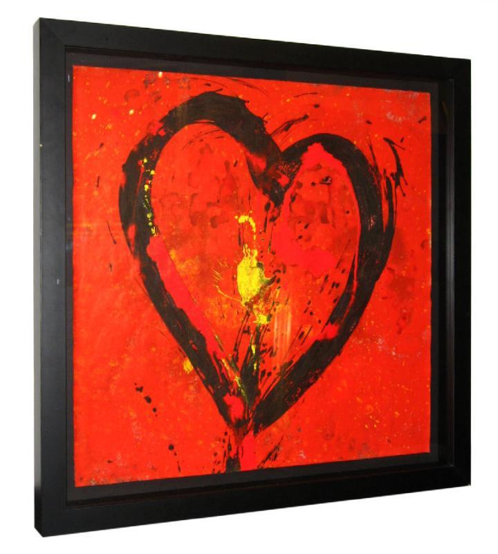 Jamali Painting with Heart Shape Motif in Pigment-on-Cork Medium