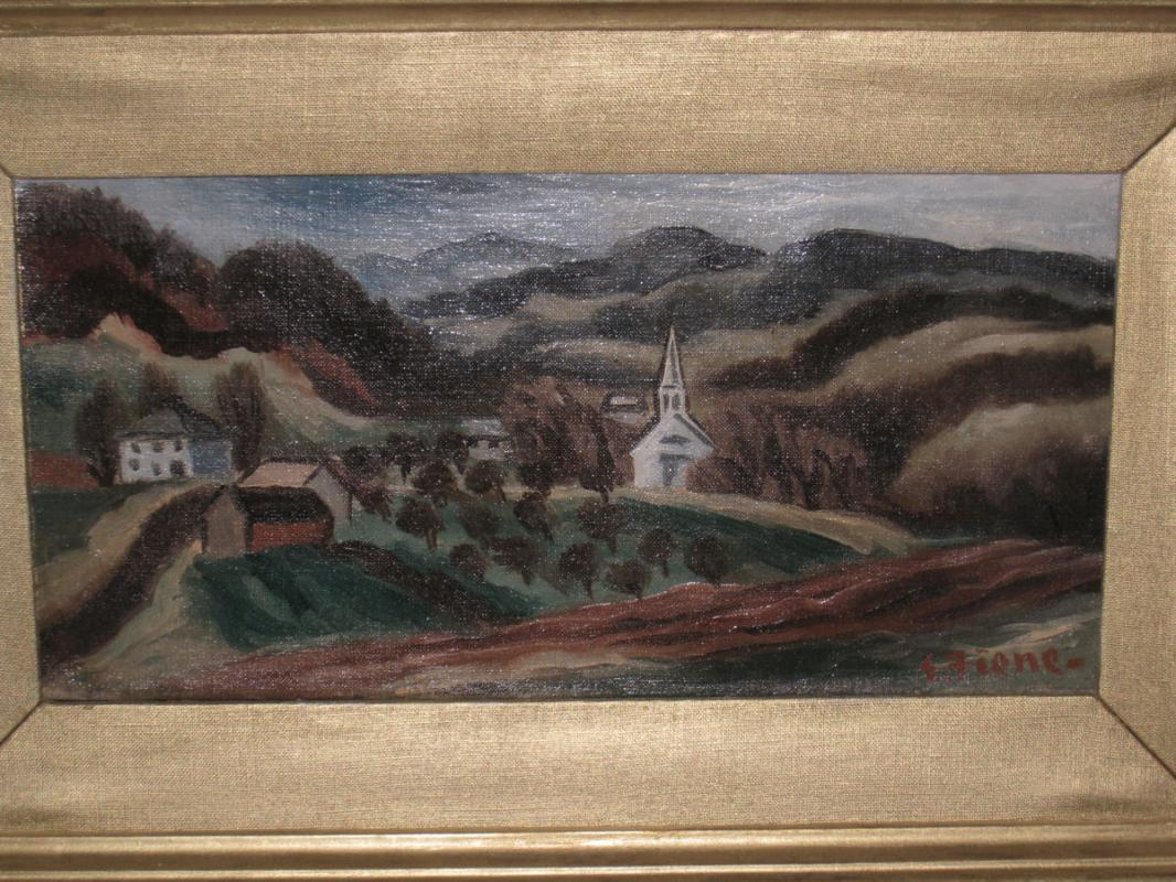 Ernest Fiene (1894-1965) American Ashcan School Landscape Oil Painting
