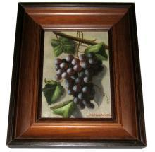 Jean Laurent (1898-1988) French Grape Still Life Oil on Panel