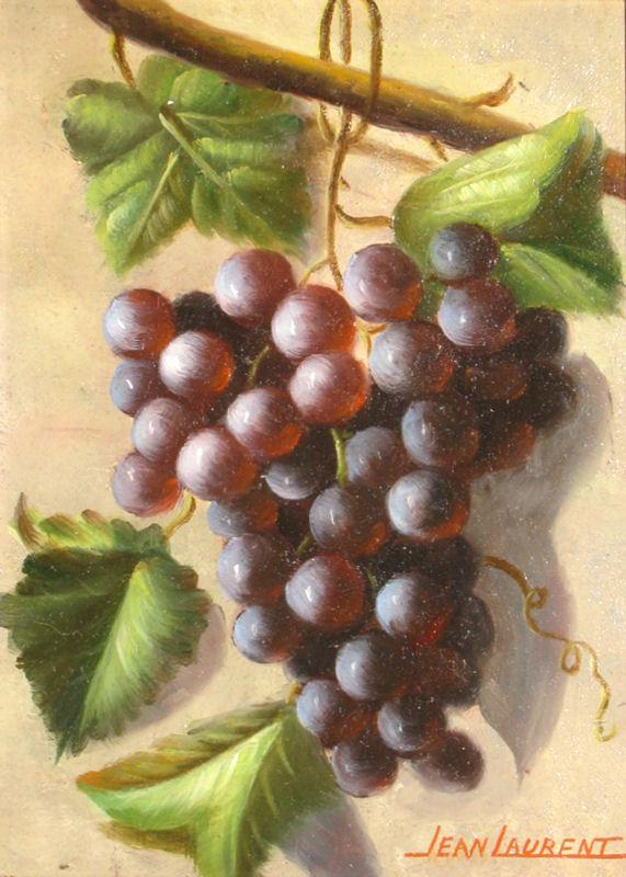 Jean Laurent (1898-1988) French Grape Still Life Oil on Panel