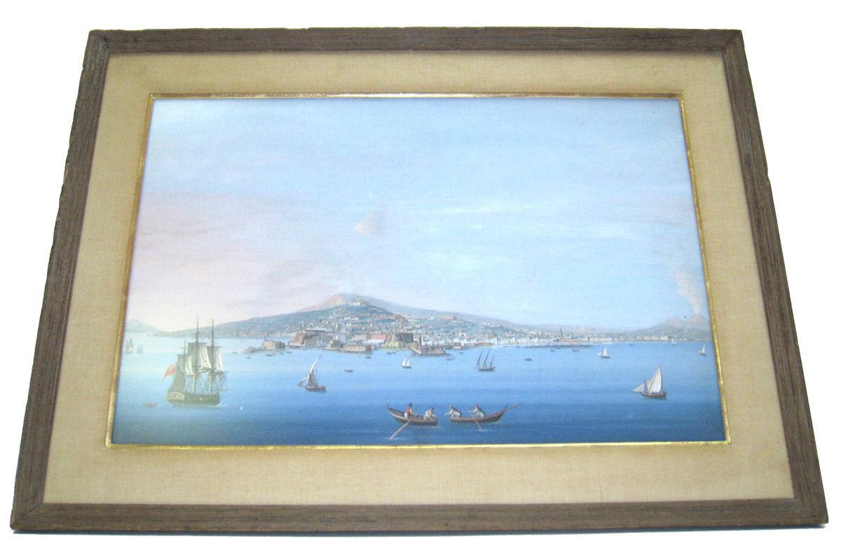 Pair Antique Neopolitan School Gouache Watercolor Paintings of Naples Harbor