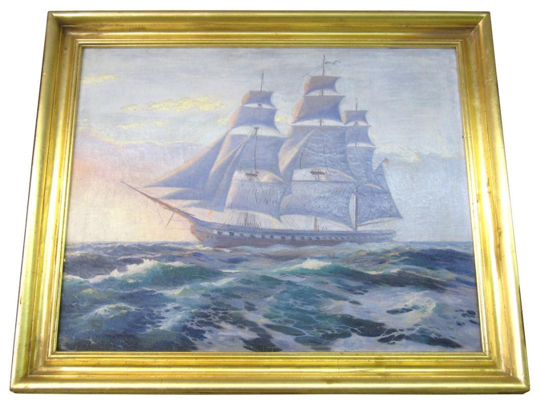 Vadim Morosoff Russian American Seascape Sailing War Ship Oil Painting