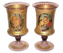 Pair Antique Venetian Neoclassical Parcel Gilt Glass Vases Goblets