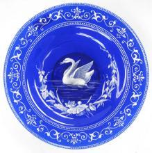 Antique Enameled Cobalt Blue Glass Tazza with Swan