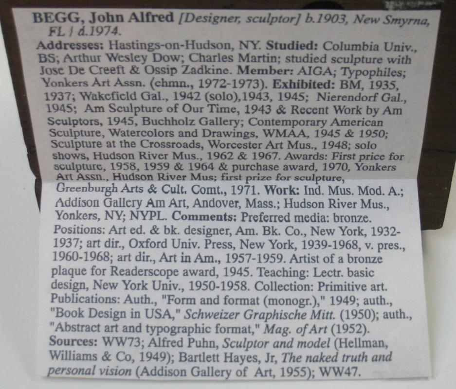 John Begg American Mid-Century Modern Primitive Bronze Sculpture
