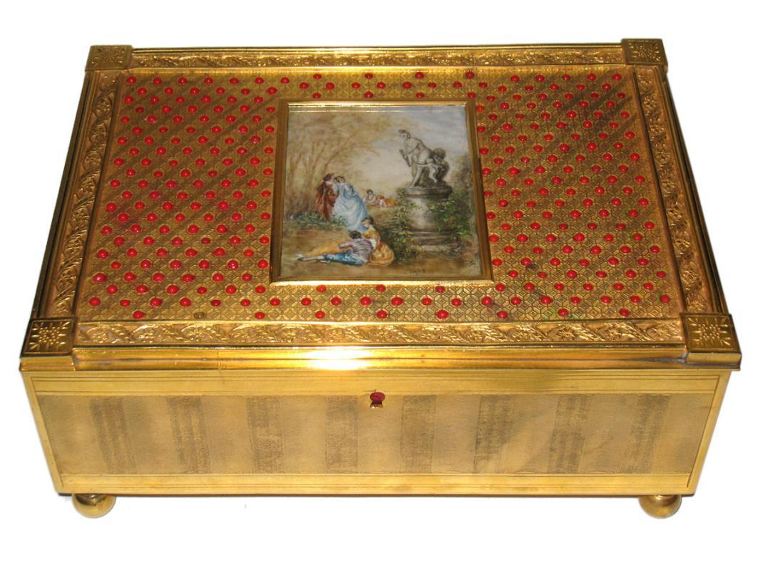 Antique European Gilt Metal Jewelry Box Casket with Miniature Painting