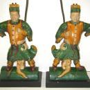 Pair Chinese Figurative Polychrome Glazed Ceramic Ceiling Tile Lamps