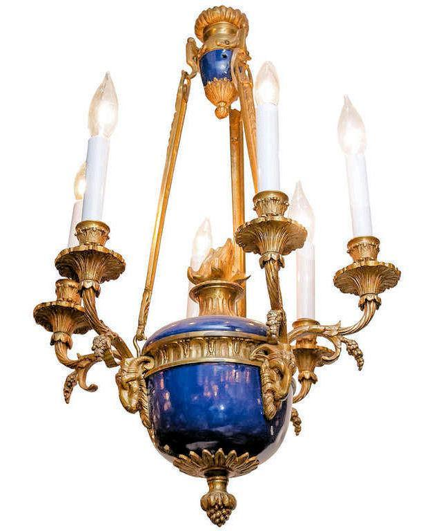 Antique Blue Enameled and Gilt Bronze Georgian Louis XVI Style Chandelier