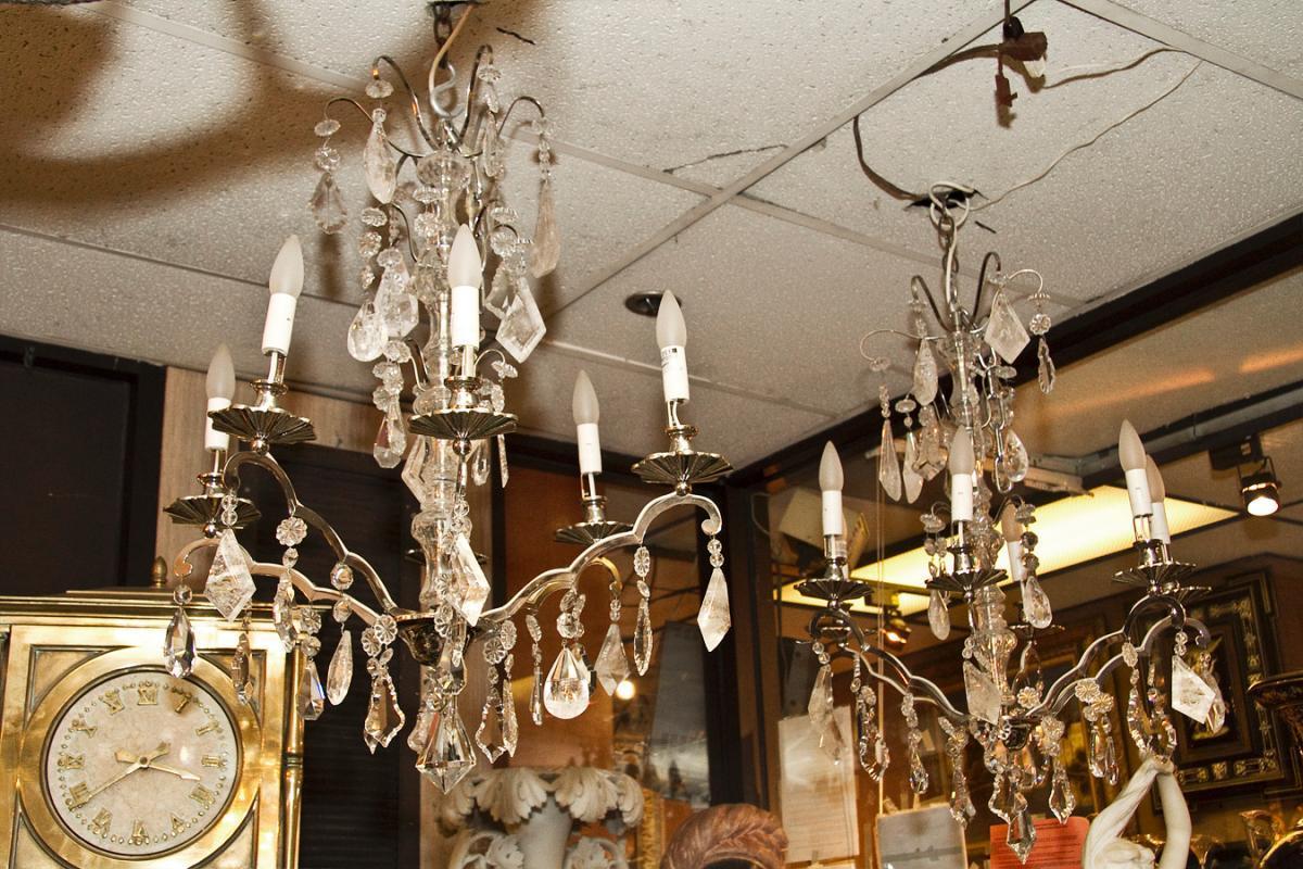 Pair Mid-Century Nickel Plated Metal & Glass Chandeliers