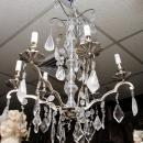 Pair Mid-Century Nickel Plated Metal & Glass Chandeliers