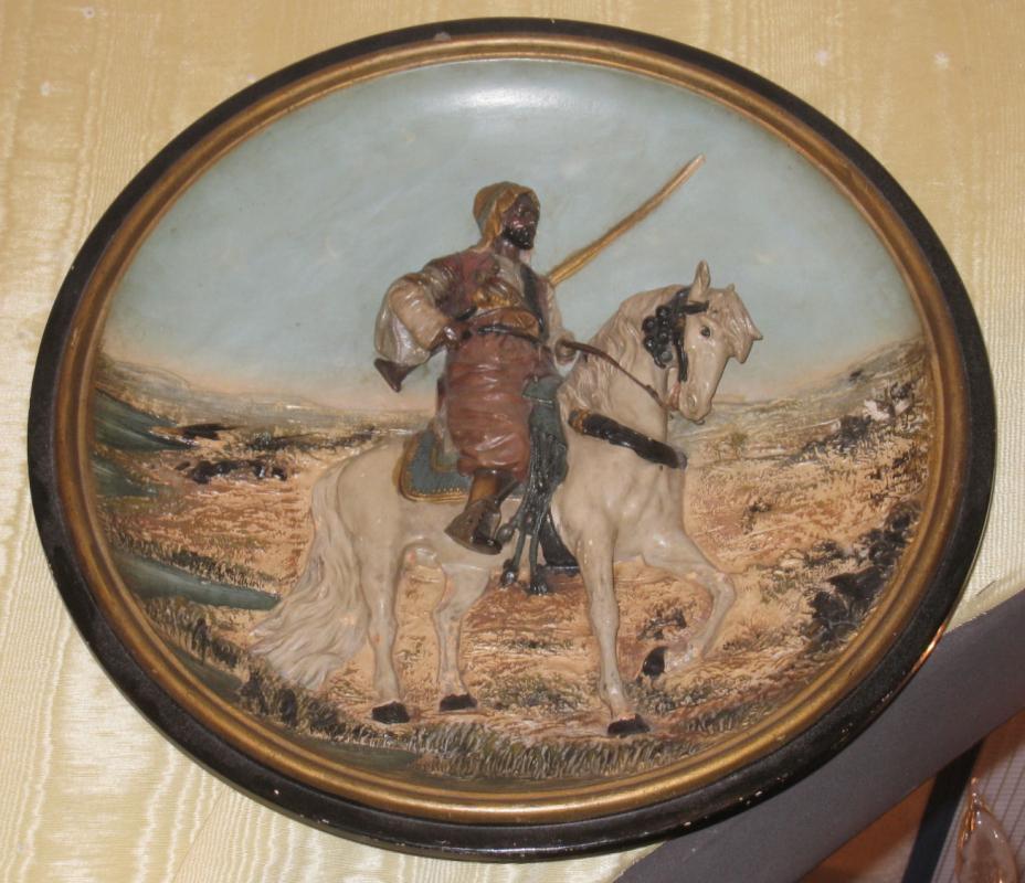 Orientalist Terra Cotta Ceramic Charger Plaque by Johann Maresch Depicting Arab on Horseback
