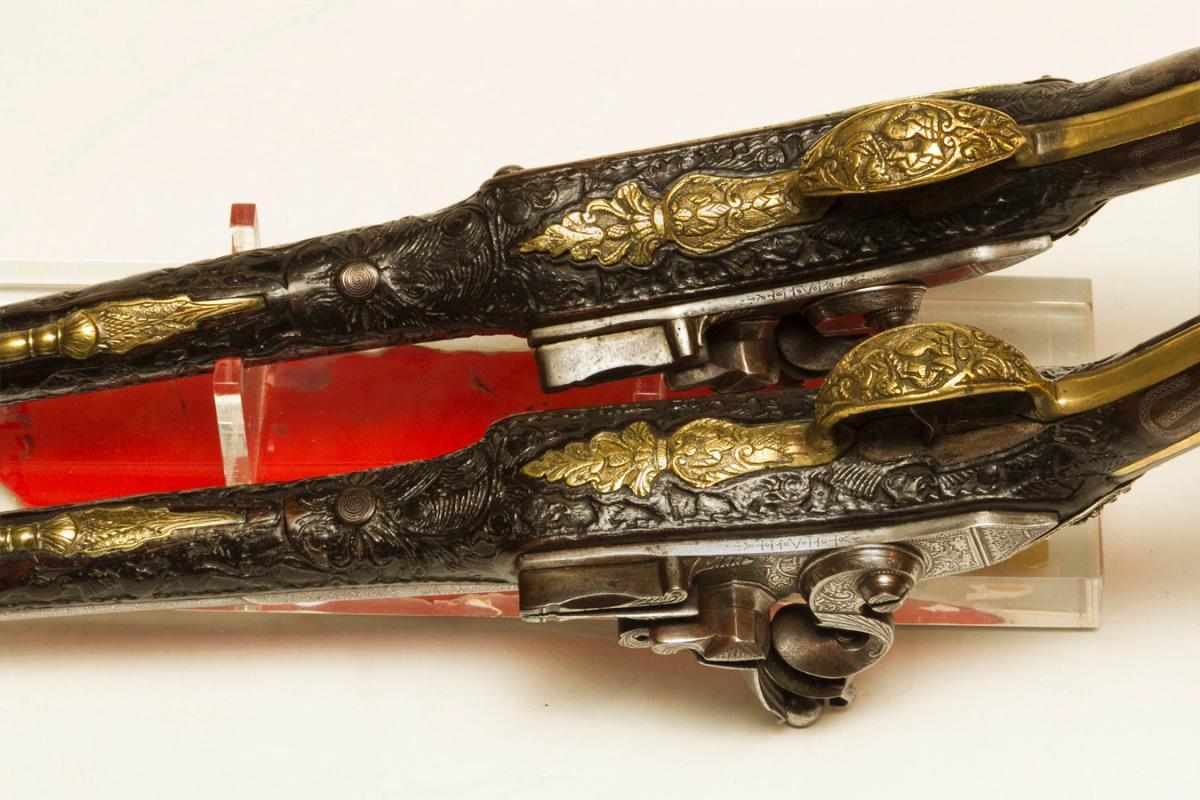 Pair Antique Indo-Persian or Turkish Ottoman Jewelled Pistols