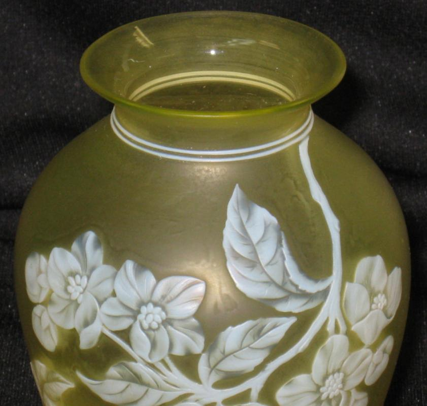 Antique Thomas Webb & Sons Yellow Floral Cameo Glass Vase
