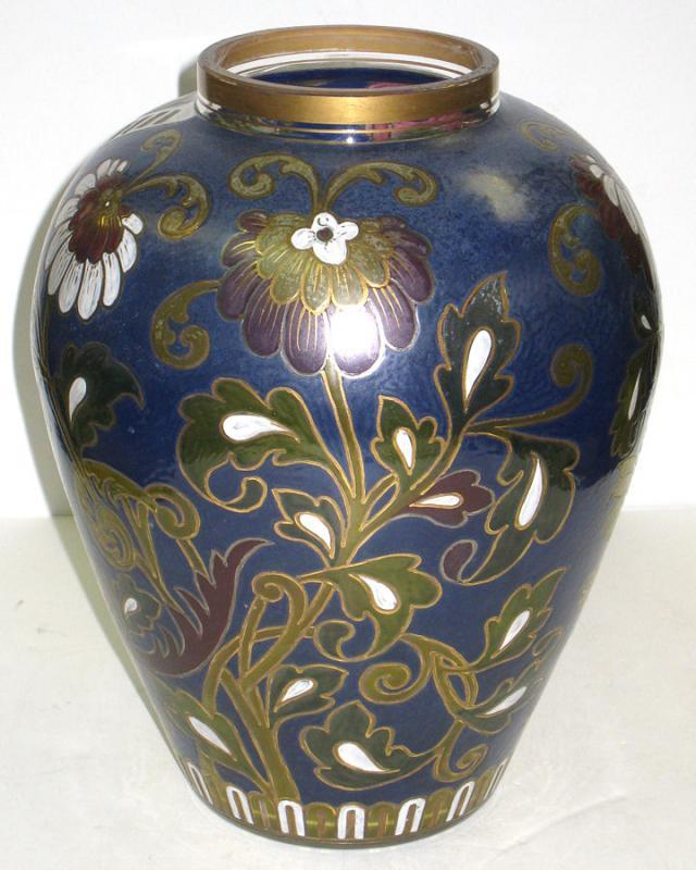 Fritz Heckert Enameled & Etched Vase with Eagle