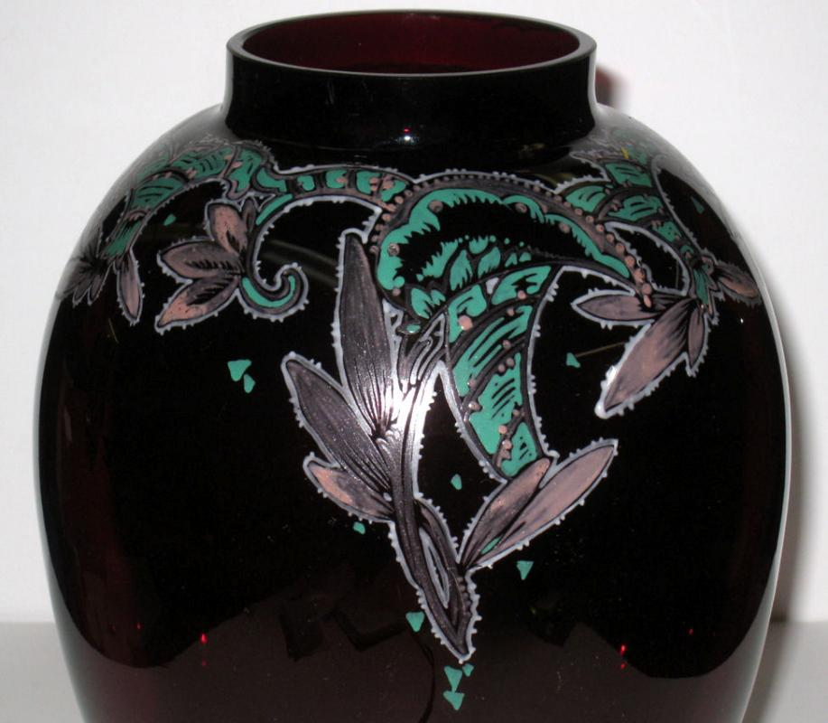 Emmy Seyfried German Antique Art Deco Ruby Red Glass Vase