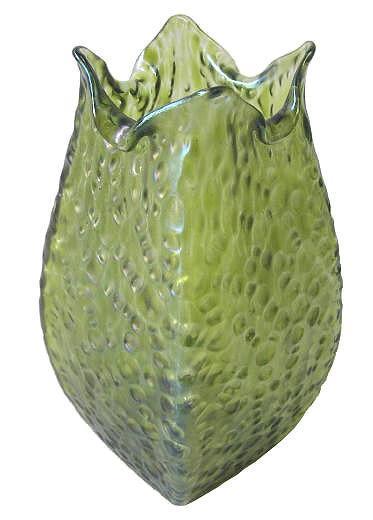Antique Bohemian Mottled Green Glass Vase