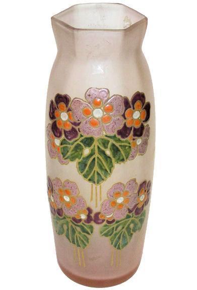 French Legras Art Nouveau Arts & Crafts Period Enameled Glass Vase