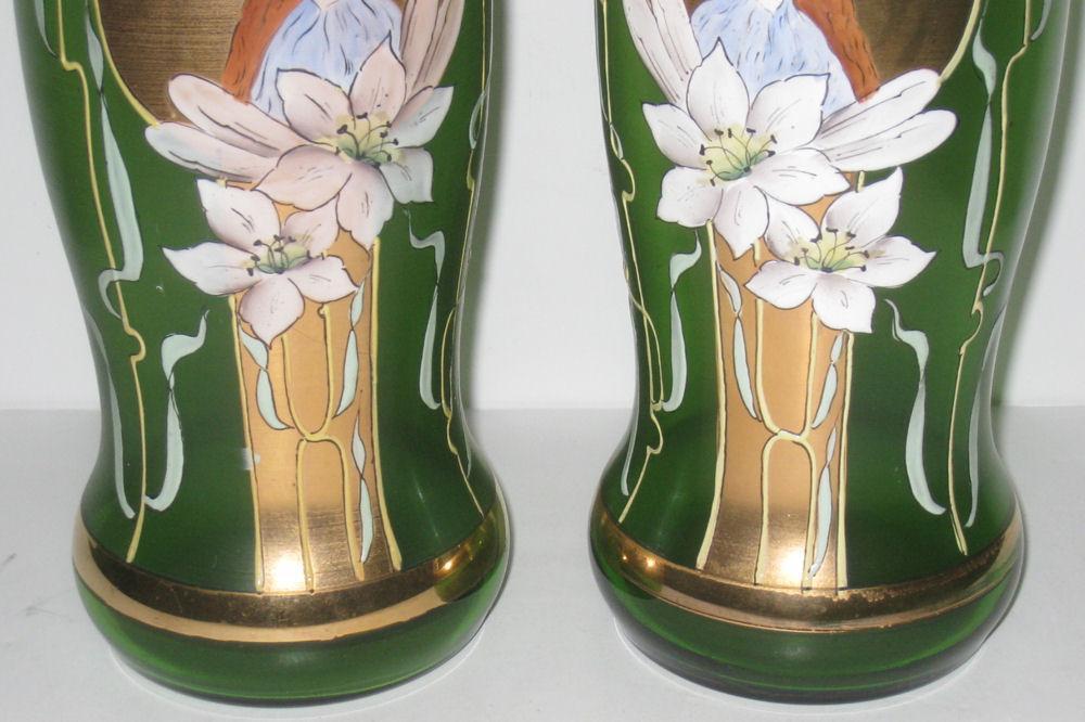 Pair Antique Art Nouveau Gilt & Enameled Glass Vases
