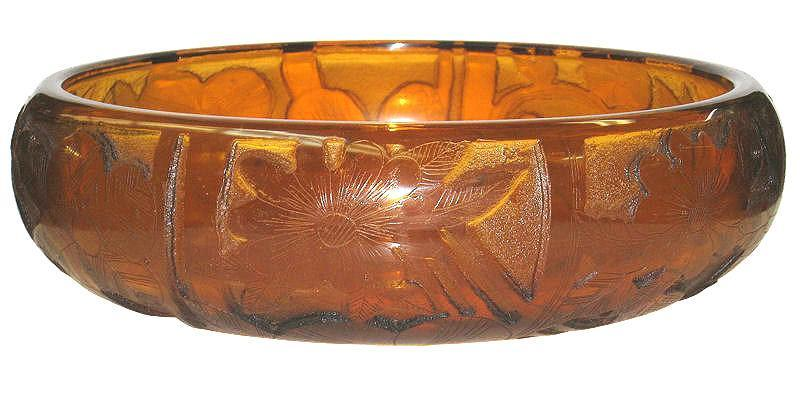 Moser Art Deco Period Orange Acid-Etched Centerpiece Bowl