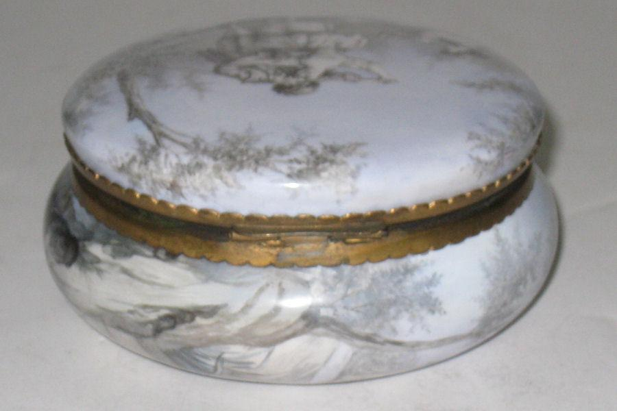 Antique Austrian Enamel Round Jewelry Dresser Box Jar