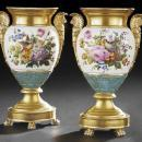 Pair of Exceptional Paris Porcelain Gilded & Floral Painted Vases