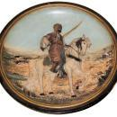 Orientalist Terra Cotta Ceramic Charger Plaque by Johann Maresch Depicting Arab on Horseback