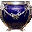 Neoclassical Cobalt Blue Ceramic & Silvered Bronze Jardiniere Pot Centerpiece